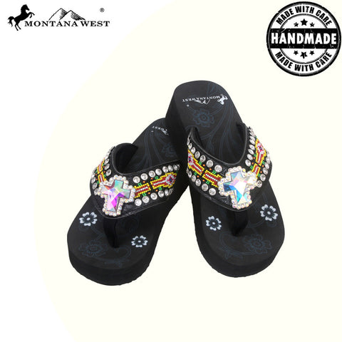 BD15A-S008 Aztec Hand Beaded Collection Flip Flops BY CASE