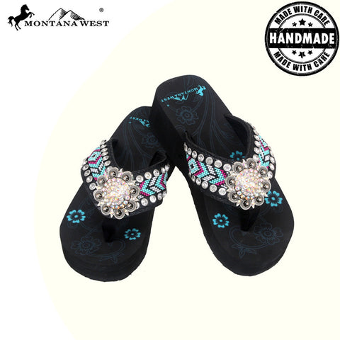 BD16-S001 Aztec Hand Beaded Collection Flip Flops BY CASE