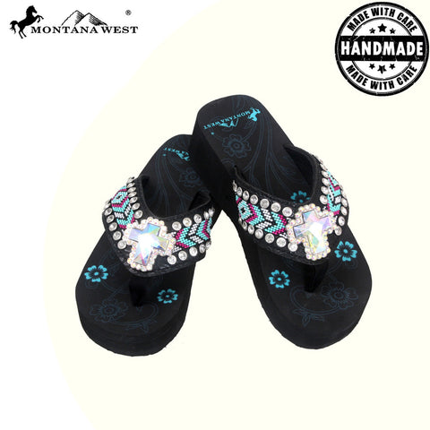 BD16-S008 Aztec Hand Beaded Collection Flip Flops BY CASE