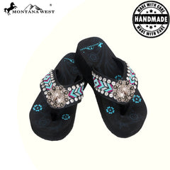 BD16-S091 Aztec Hand Beaded Collection Flip Flops BY CASE