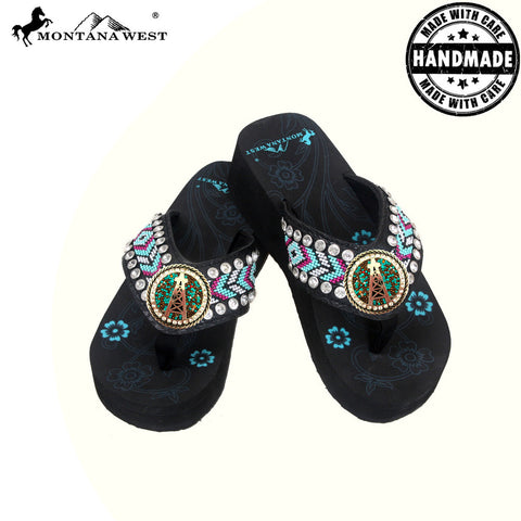 BD16-S092 Aztec Hand Beaded Collection Flip Flops BY CASE