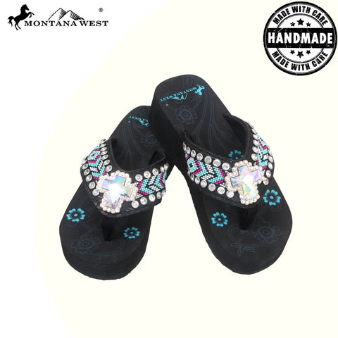 BD16A-S008 Aztec Hand Beaded Collection Flip Flops BY CASE