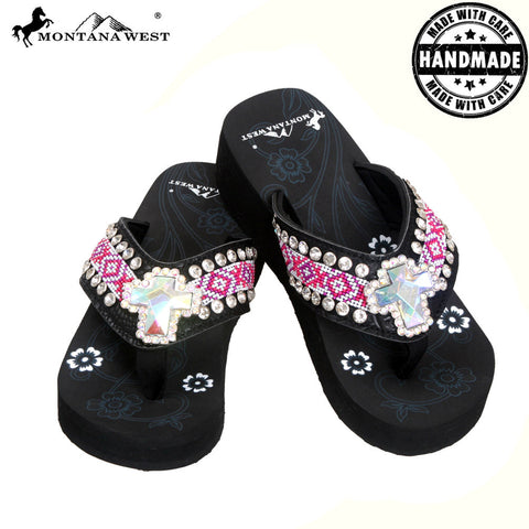 BD18-S008 Aztec Hand Beaded Collection Flip Flops BY CASE
