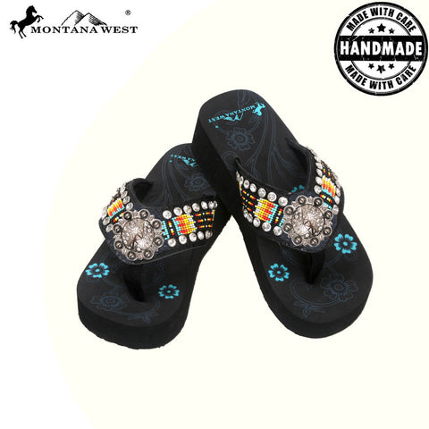 BD19-S091 Aztec Hand Beaded Collection Flip Flops BY CASE