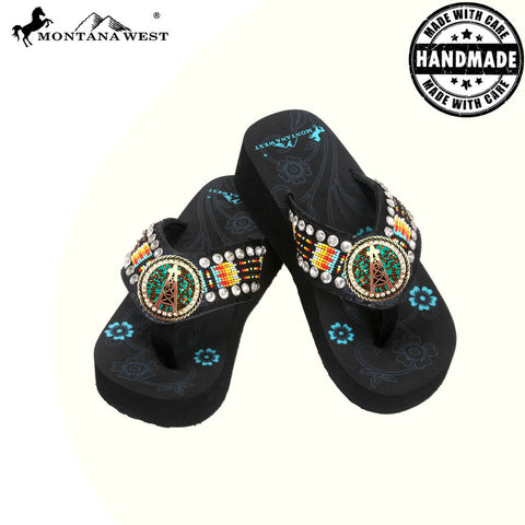 BD19-S092 Aztec Hand Beaded Collection Flip Flops BY CASE