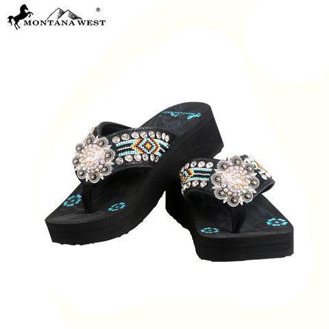 BD31-S001 Aztec Hand Beaded Floral Concho Collection Flip Flops BY CASE