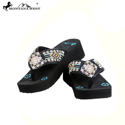 BD31-S002 Aztec Hand Beaded Diamond Shape Concho Collection Flip Flops BY CASE