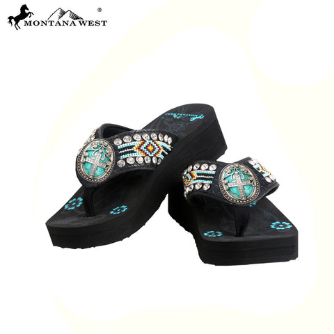 BD31-S083 Aztec Hand Beaded Collection Flip Flops BY CASE