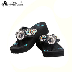 BD31-S087 Aztec Hand Beaded Collection Flip Flops BY CASE