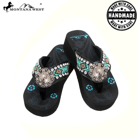 BD32-S091 Aztec Hand Beaded Collection Flip Flops BY CASE