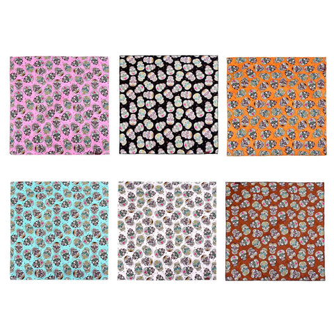 BDN09  Montana West Sugar Skull Print Bandana- Assorted Colors (12 PCS)