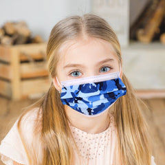 KD-FMBL1116  American Bling Kids 3 Ply Disposable Blue Camo Face Mask Non-Medical (5pcs/Pack)