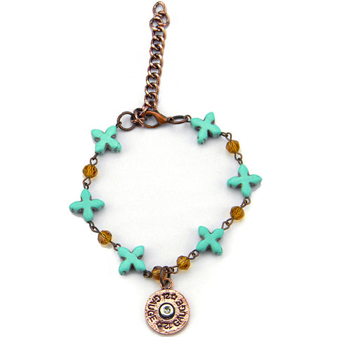 BR140628-04 Turquoise Beads & Crystal Linked Bracelet With 12 GAUGE Charm