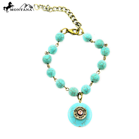 BRS160322-01 Turquoise Ball Chain Linked With Round Turquoise Charm