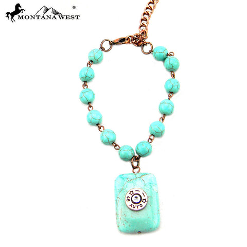 BRS160322-02 Turquoise Ball Chain Linked With Square Turquoise Charm