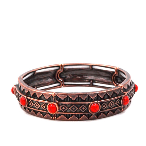 BR181015-01CPR/RED-TURQ  Copper bracelet with small red turquoise beads around