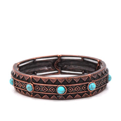 BR181015-01 CPR/BLU-TURQ  Copper bracelet with small blue turquoise beads around