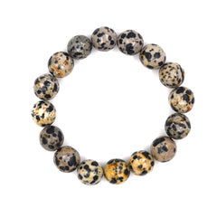 BR190120-09 LGT-GRY/BLK  Light grey with black spots fasitated real stone bracelet