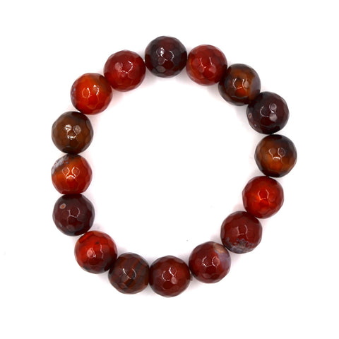 BR190120-11 BRNT-ORNGE/BRN  Clear burnt orange with brown fasitated real stone bracelet