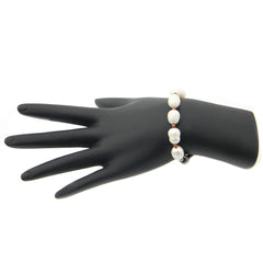 BRE160903-04 Freshwater Pearl Beads in B/W  Adjustable Suede Cord Bracelet