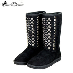 BST-030 Montana West Fringe Collection Boots Black