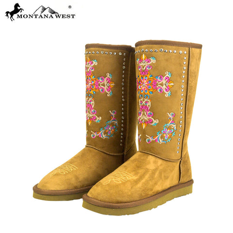 BST-033  Montana West Embroidered Collection Boots Brown