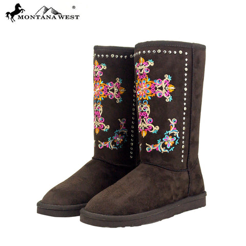 BST-033  Montana West Embroidered Collection Boots Coffee