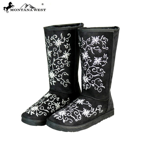 BST-100 Montana West Boots Embroidered Collection- Black By Size