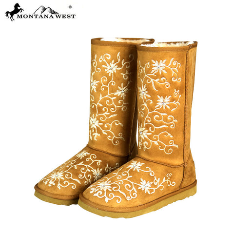 BST-100 Montana West Boots Embroidered Collection- Brown By Size