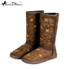 BST-100 Montana West Boots Embroidered Collection- Coffee By Size