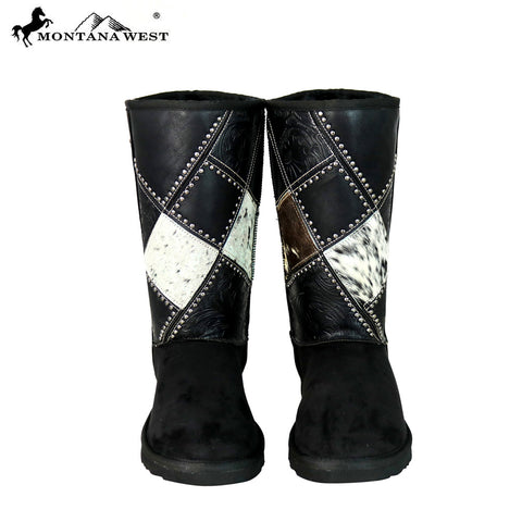 BST-102 Montana West Cowhide Collection Boots Black By Size