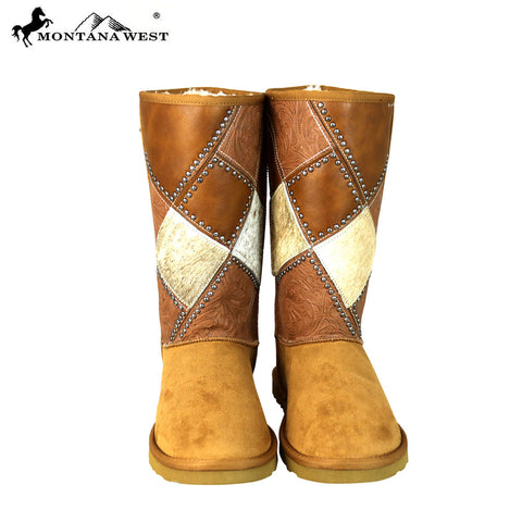 BST-102 Montana West Cowhide Collection Boots Brown By Size