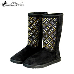 BST-104 Montana West Boots Tribal Embroidered Collection- Black By Size