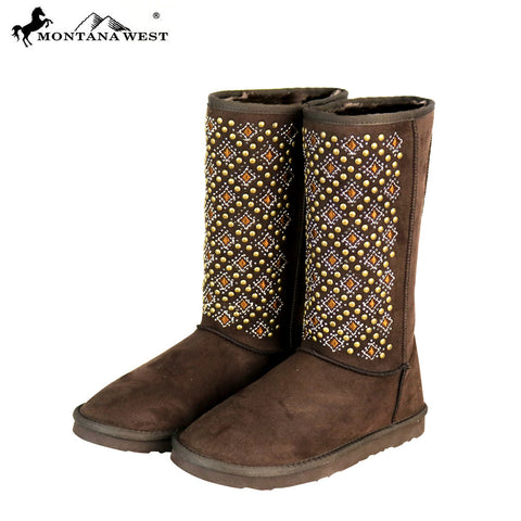 BST-104 Montana West Boots Tribal Embroidered Collection- Coffee By Size