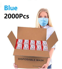 American Bling 2000PCS/40 Boxes Blue Disposable Face Masks 3 Layers Cover Masks( (Non-Medical)