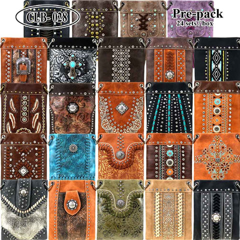 CLB-028 American Bling Crossbody Bag Pre-Pack 24Pcs/Box