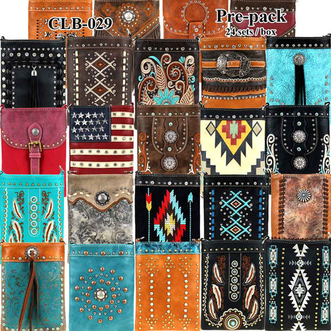 CLB-029 American Bling Crossbody Bag Pre-Pack 24Pcs/Box