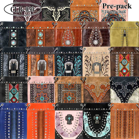 CLB-030 American Bling Crossbody Bag Pre-Pack 24Pcs/Box