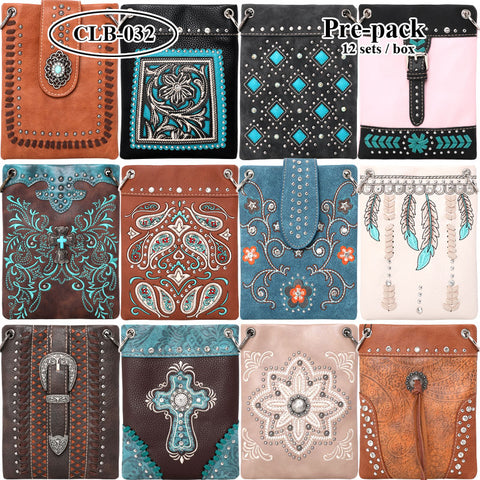 CLB-032 American Bling Crossbody Bag Pre-Pack 12Pcs/Box