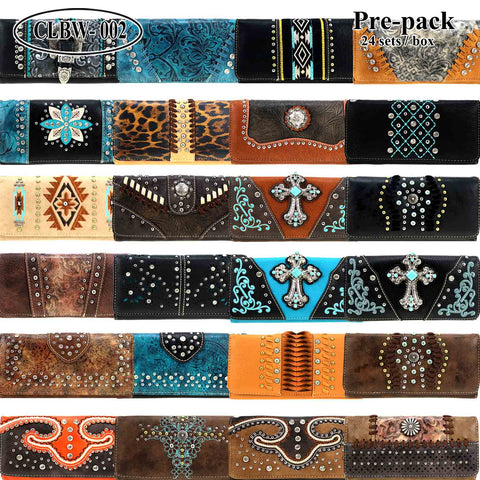 CLBW2-027  American Bling Wallet/Wristlet Pre-Pack Assorted Color (24PCS)