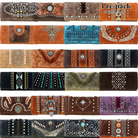 CLBW2-028  American Bling Wallet/Wristlet Pre-Pack Assorted Color (24PCS)