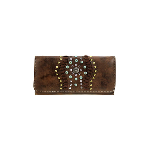 CLBW2-2719  American Bling Coffee Studded Wallet/Wristlet