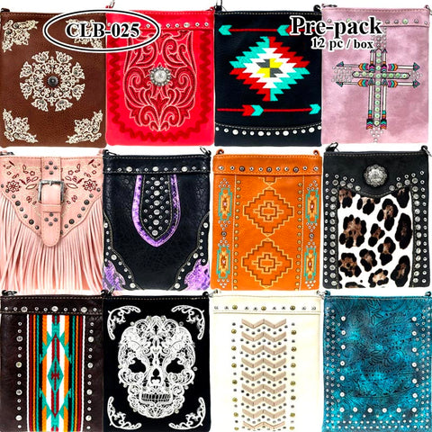 CLB-025 American Bling Crossbody Bag Pre-Pack 12Pcs/Box