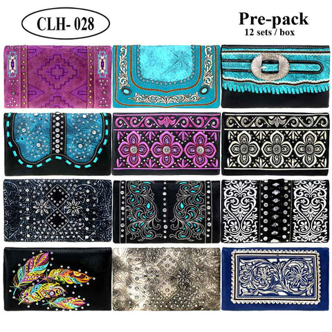 CLH-028B  American Bling Collection Clutch Pre-Pack Assorted Color (12PCS)