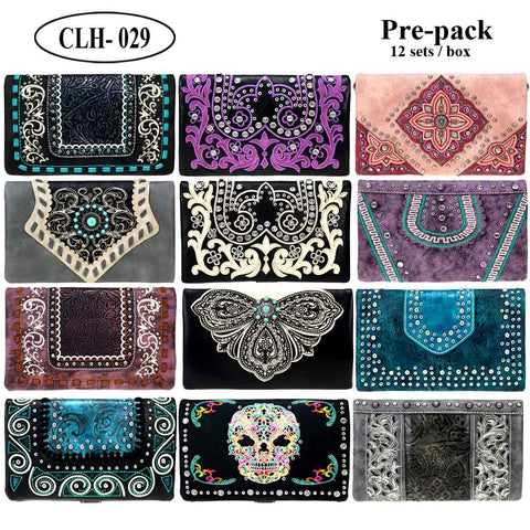 CLH-029B  American Bling Collection Clutch Pre-Pack Assorted Color (12PCS)