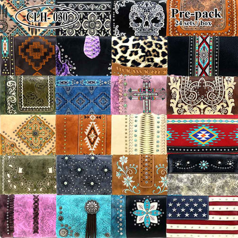 CLH-030 American Bling  Clutch Pre-Pack Assorted Color (24PCS)