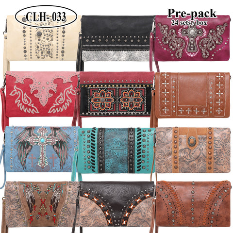 CLH-033  American Bling  Clutch Pre-Pack Assorted Color (24PCS)