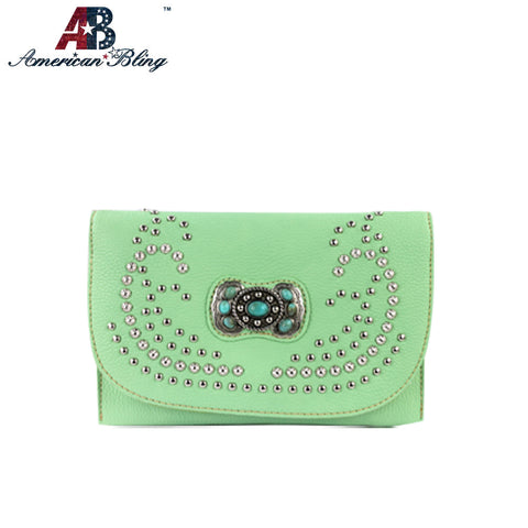 CLS-001  American Bling Western Studded Concho Clutch/Mini Shoulder Bag