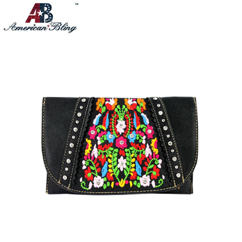 CLS-002  American Bling Western Embroidered Clutch/Mini Shoulder Bag