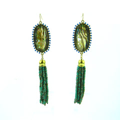 "ERS180508-05  2"" OVAL W/3"" MINI CRYSTAL TASSEL EARRING"